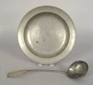 Connecticut pewter deep dish early 19th c