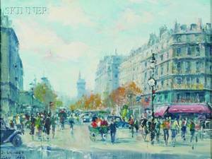 Jean Salabet French 20th Century Lot of Two Parisian Street Scenes