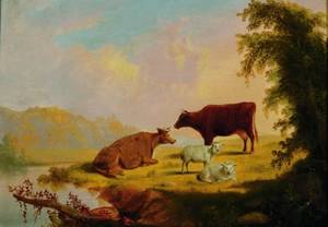 Attributed to Thomas Hewes Hinckley American 18131896 Cattle and Sheep at Pasture