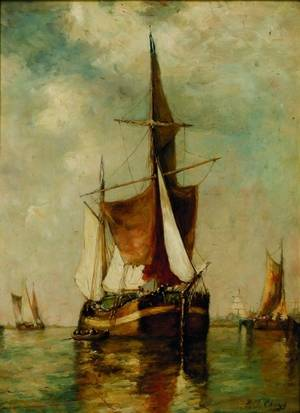 Paul Jean Clays Belgian 18171900 Boats in the Harbor