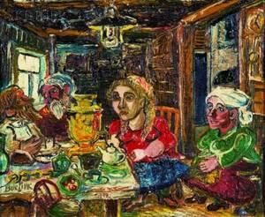 David Burliuk RussianAmerican 18821967 At the Table