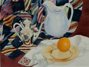 Charlotte DeVoe American 20th21st Century Still Life with Orange and Pitcher