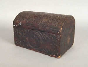 Continental embossed leather dome lid box 18th c