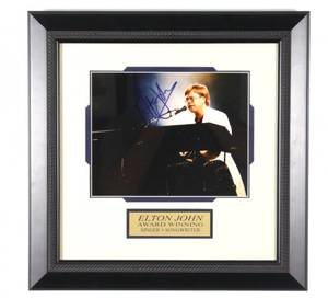 Framed Autographed Photo Elton John