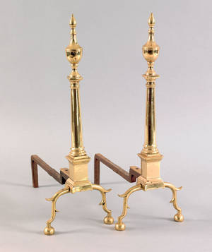 Pair of New York Federal brass andirons ca 1795