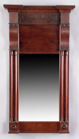 Late Federal mahogany mirror ca 1820