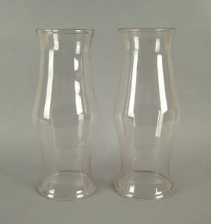 Pair of blown glass hurricane shades early 19th c