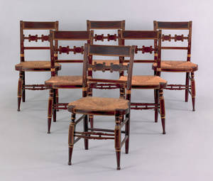 Set of six painted fancy chairs mid 19th c