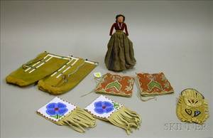 Two Pairs of Native American Beaded Hide Cuffs Leggings a Pouch and a Small Doll