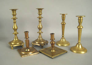 Pair of Continental brass candlesticks early 18th c