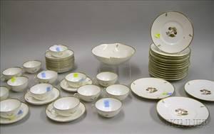 Fortysix Piece Royal Copenhagen Gilt and Floral Decorated Porcelain Partial Tea Set