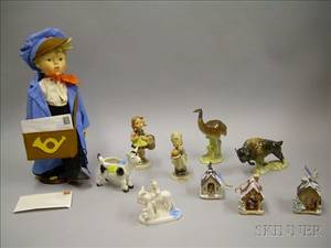 Nine Hummel and Goebel Collectible Ceramic Items