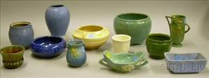 Three Pieces of Roseville Pottery and Nine Pieces of Assorted Art Pottery