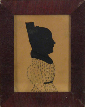 American watercolor and hollowcut silhouette of a woman ca 1830