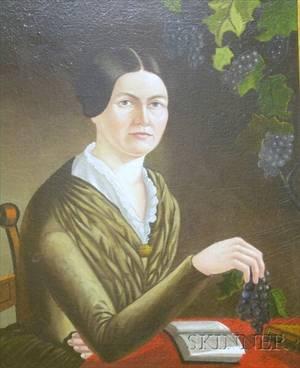 Framed 19th Century American School Portrait of a Woman in a Brown Dress