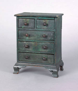 Miniature Chippendale mahogany chest of drawers early 19th c