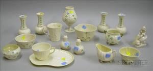 Seventeen Pieces of Assorted Irish Belleek Porcelain Tableware and Items