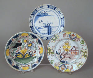 Two Delft polychrome decorated plates late 18th c