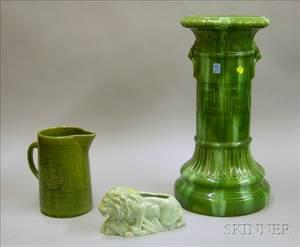 Majolica Glazed Art Pottery Pedestal Glazed Pottery Lion Figural Planter and a Glazed Pottery Pitcher