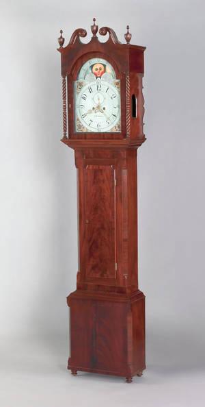 Chester County Pennsylvania Federal mahogany tall case clock ca 1820