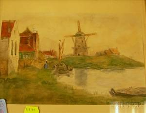 Framed Watercolor on Paper of a Dutch Landscape with Windmill