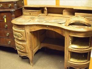 Louis XV Style Leatherinset Walnut Kidneyshaped Desk