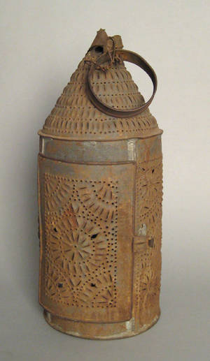 Massive punched tin hanging lantern 19th c