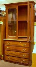Mahogany and Cherry Twopart Bureau Bookcase