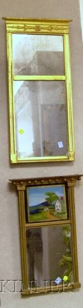 Neoclassical Giltwood Mirror and a Diminutive Federal Giltwood and Reversepainted Glass Tabernacle Mirror