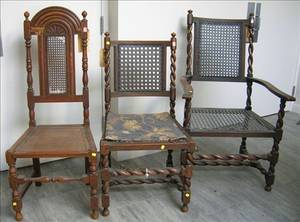 Jacobeanstyle Caned Carved Oak Armchair and Side Chair and a Charles II Style Caned Carved Oak Hall Chair