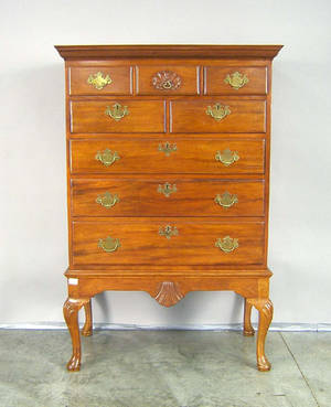 Pennsylvania Queen Anne chest on frame