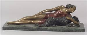 Art Deco Style Patinated Bronze Figural Sculpture