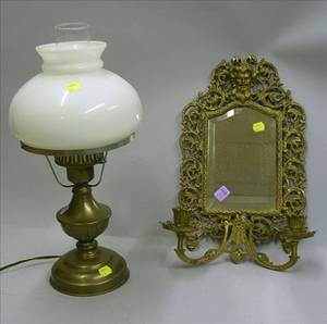 Bradley  Hubbard Victorian Brass Plated Cast Iron Mirrored TwoLight Wall Candle Sconce and a Brass Table Lamp