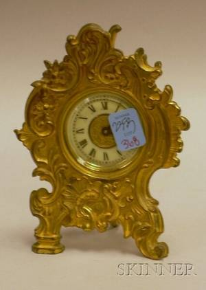 Small Ansonia Rococostyle Giltmetal Table Clock
