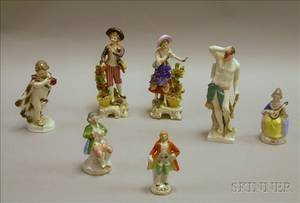 Four Continental Porcelain Figures and Figural Groups and Three Japanese Porcelain Continentalstyle Porcelain Figures