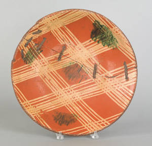 Large American redware charger 19th c