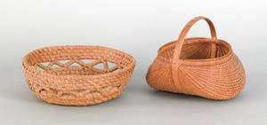 Pennsylvania rye straw basket late 19th c