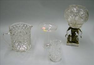 Pressed Colorless Glass Pitcher a Colorless Glass and Cast Metal Garniture a