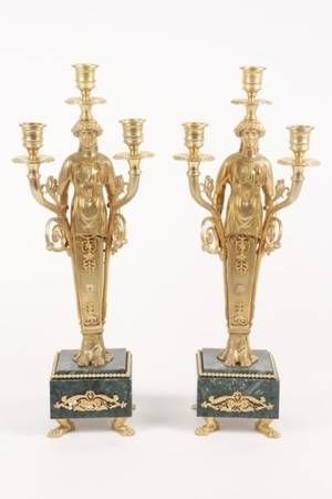 Pair of Empire Style Figural Candelabra