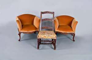 Pair of Italian carved walnut armchairs