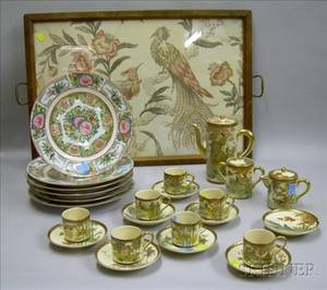 Eighteenpiece Japanese Satsuma Chocolate Set a Set of Six Chinese Export Porcelain Rose Medallion Plates and