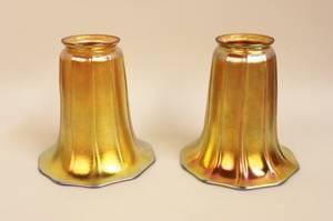 Pair of Steuben Gold Aurene Art Glass Shades
