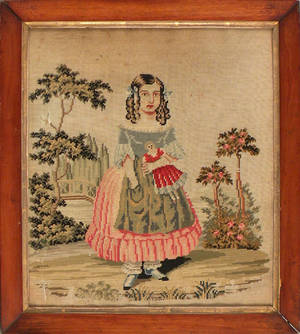 Victorian needlework of a girl with a doll