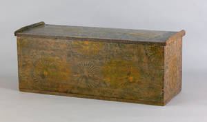 New England painted basswood blanket chest early 19th c