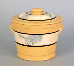 Yellow mocha covered canister 19th c
