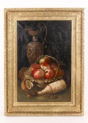 19th C Still Life with Apples Oil on Canvas