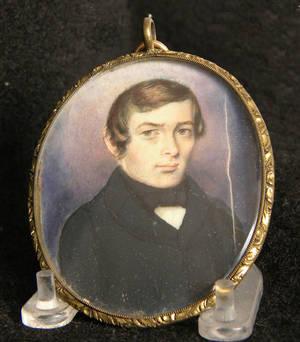 Miniature watercolor on ivory portrait of a gentleman