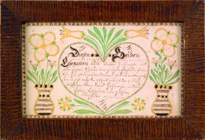 Pair of Southeastern Pennsylvania ink and watercolor fraktur birth certificates for Johan and Joseph Guthmacher dated 1817 and 1819