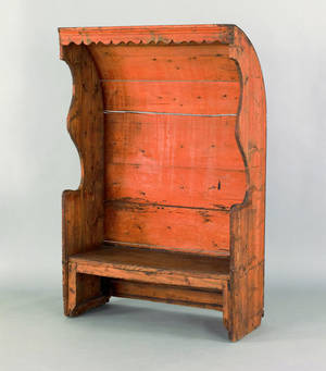 Pine settle bench ca 1780
