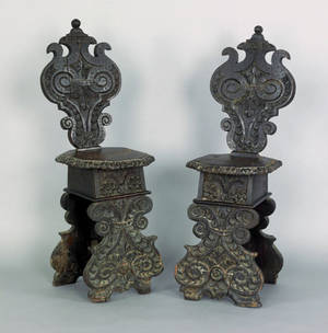 Pair of Italian carved oak sgabello chairs 17th c